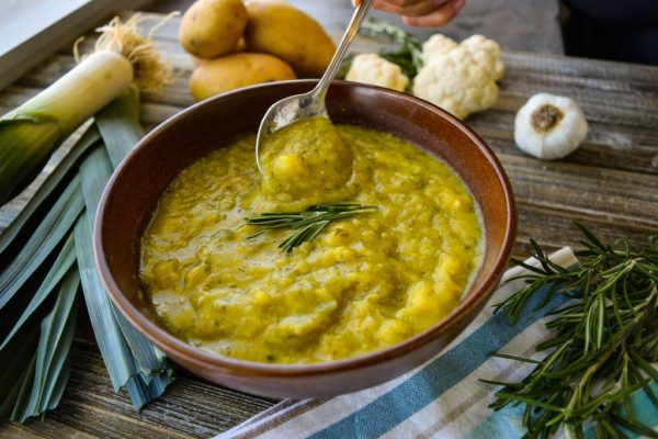 LeafSide Creamy Potato Leek Soup with spoon
