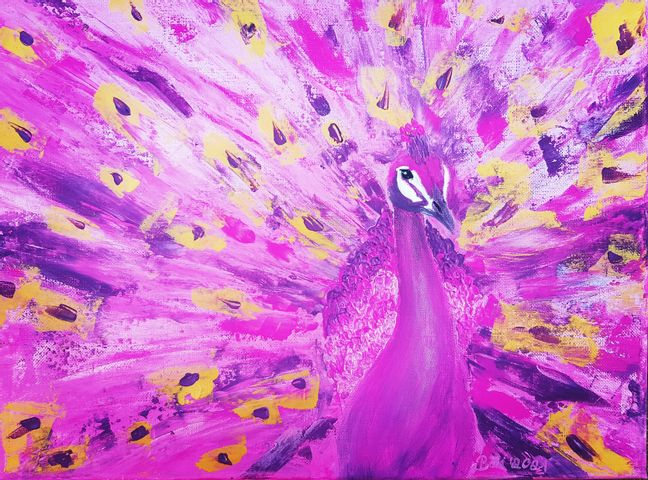 Pinker Pfau abstrakt