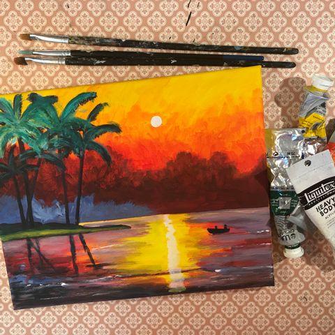 Zeit für dich! Zoom Malen mit Malzauber: Sonnenuntergang am Meer