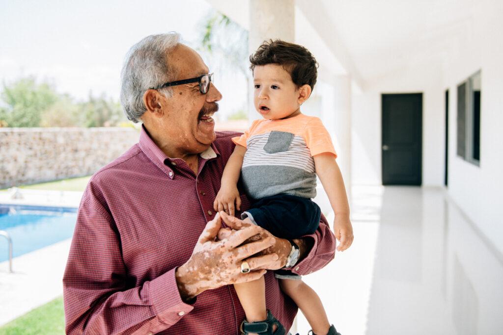 Elder man with child