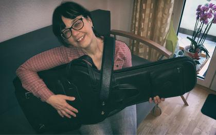 Große Freude bei Gaby von reimtext aus Frankfurt über neue Bag und Gurt von LEVY'S Leathers