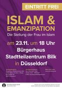 Islam & Emanzipation - Die Stellung der Frau im Islam in Düsseldorf, Vortrag, 23.11.2017, Bürgerhaus Stadtteilzentrum Bilk - Tickets -