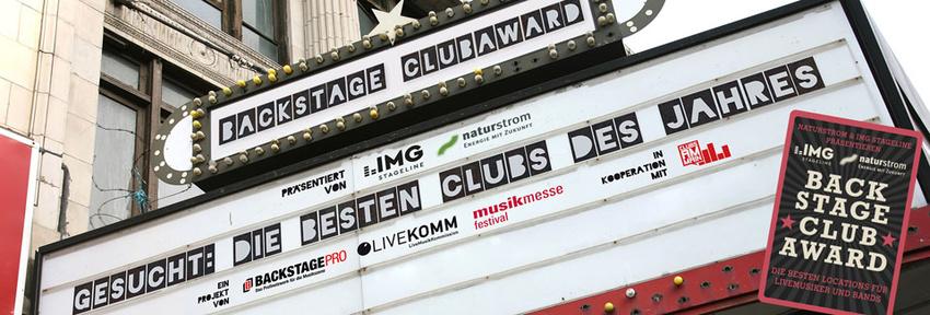 Die besten Clubs - ausgewählt von Musikern - BACKSTAGE Clubaward 2018: Award-Show am 10. April im Nachtleben Frankfurt!