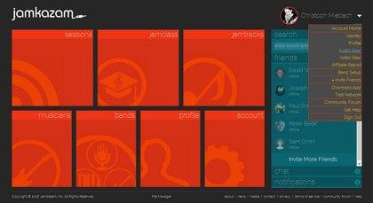 Bild 1: JamKazam Startbildschirm