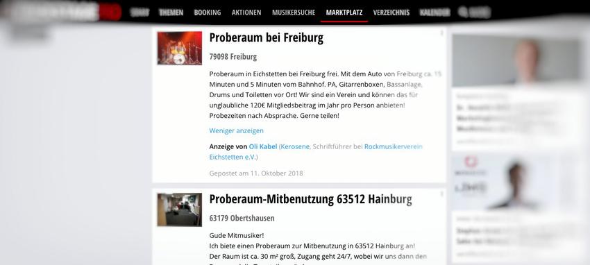 Proberaum-Angebote und -Gesuche bei Backstage PRO im Martplatz unter www.backstagepro.de/marktplatz