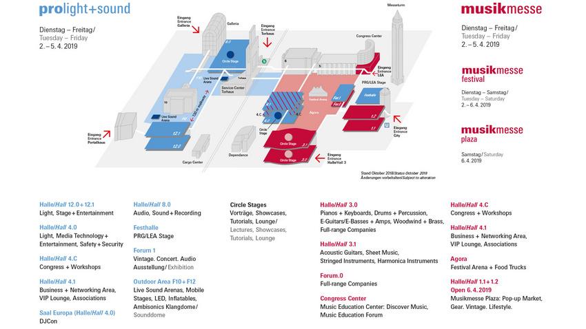 Der Hallenplan von Musikmesse und Prolight + Sound