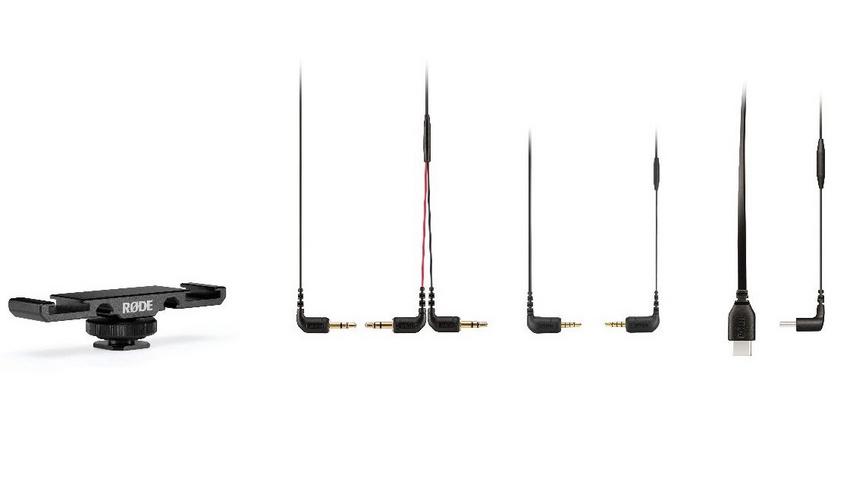 RØDE mit Doppel-Blitzschuhadapter DCS-1 und TRS-Splitter-Kabel SC11