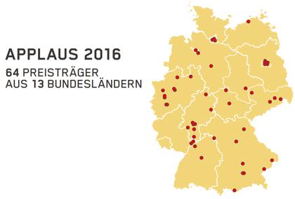 64 Preisträger aus 13 Bundesländern - APPLAUS 2016: Alle Preisträger des Spielstätten-Programmpreises in der Übersicht