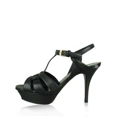 Saint Laurent	YSL Tribute Sandals 10cm in Black Caviar Embossed