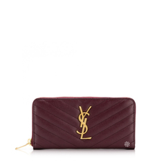 Saint Laurent	Monogramme Zip Around Wallet in Dark Legion Red Quilted Leather GHW