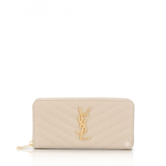 Saint Laurent	Monogramme Zip Around Wallet in Sea Salt Quilted Leather GHW