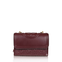 Tory Burch	Small Fleming Shoulder Bag in Claret GHW with Tassels