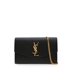 Saint Laurent	Uptown Chain Wallet in Black Caviar Leather GHW
