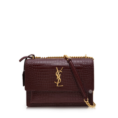 Saint Laurent	Medium Sunset Shoulder Bag in Red Velvet Croco-stamped Leather GHW