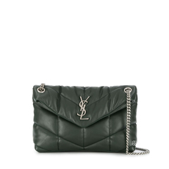Saint Laurent	Medium Loulou Puffer Shoulder Bag in Dark Green Quilted SHW