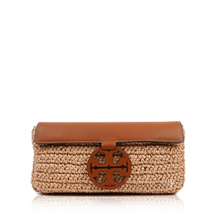 Tory Burch	Miller Straw T-medallion Clutch in Neutral Calf