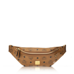 MCM Small Fursten Belt Bag in Cognac with D ring Detail at Side