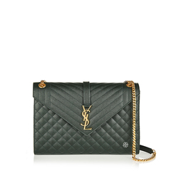 Saint Laurent	Large Monogramme Envelope Chain Shoulder Bag in Dark Mint Caviar Leather GHW