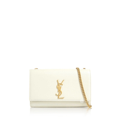 Saint Laurent	Medium Kate Shoulder Bag in Blanc Vintage Caviar Leather GHW
