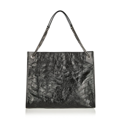 Saint Laurent	 Large Monogramme Niki Shopping Bag in Black Crinkled Vintage Leather