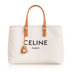 Celine	Horizontal Cabas Tote Bag in Natural/Tan Canvas w/ Logo