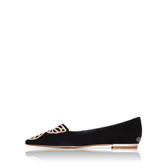 Sophia Webster Bibi Butterfly Ballerina Flat in Black Suede with Rose Gold Butterfly