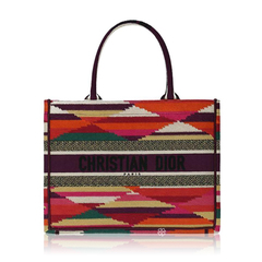 Christian DiorSmall Dior Book Tote Patchwork Cotton Embroidery Bag in Violet Multicolor