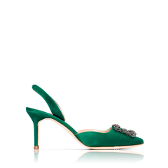 Manolo BlahnikHangisi Slingback Pumps 7cm in Bright Green Satin with Dark Crystal