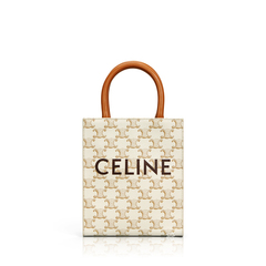 CelineMini Vertical Cabas in White/Tan Triomphe Canvas with Celine Print