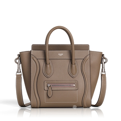 CelineNano Luggage Bag in Souris Drummed Leather
