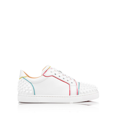 Christian LouboutinWomen Vieira 2 Spikes Sneakers in White with Multicolors Trims