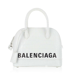 BalenciagaVille Top Handle S in White Croco-embossed Leather with Logo