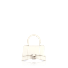 BalenciagaMini Hourglass Top Handle Bag in White Grained Leather SHW