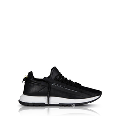 GivenchyMen Spectre Runner Sneakers in Black/White Perforated Leather with Side Zipper
