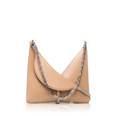 GivenchySmall Cut Out Shoulder Bag in Beige Cappucino Leather with Chain