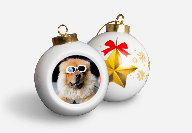 Boule de Noël en porcelaine étoile