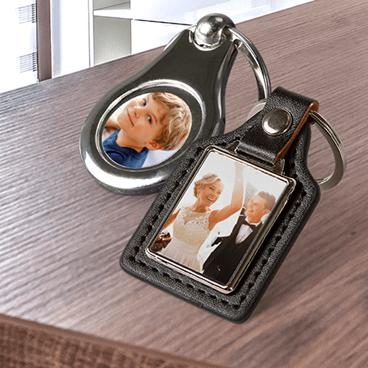 Porte-clés photo deluxe en métal