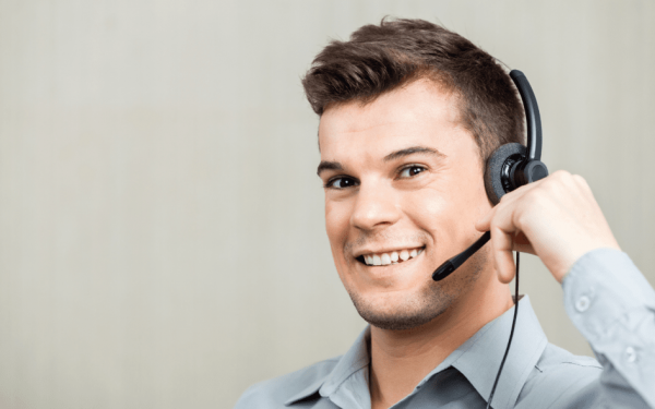 Male receptionist at an answering service