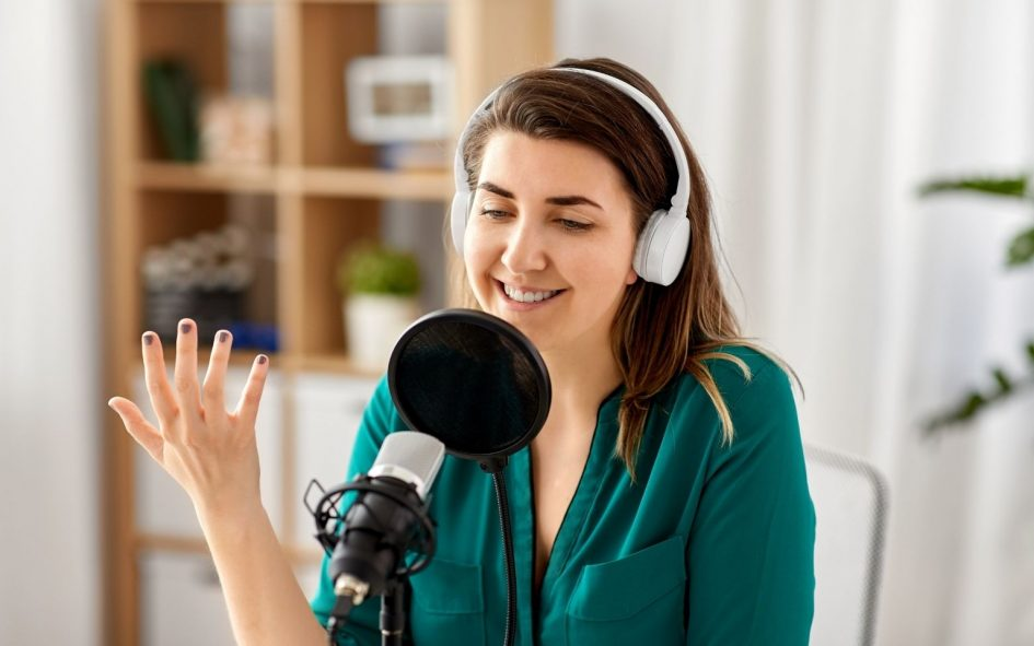 Podcaster recording a legal podcast