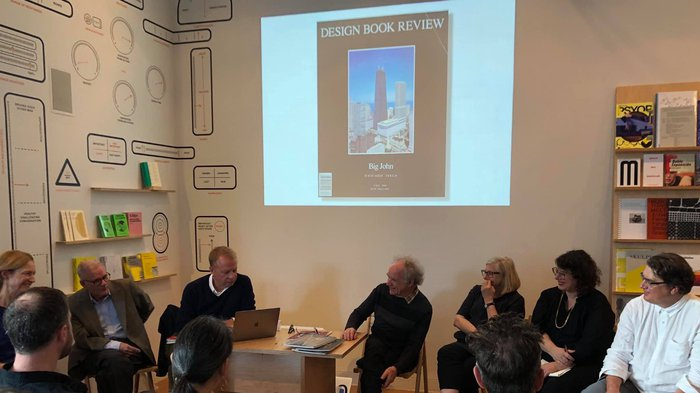 CCA panel on Design Book Review at the Curatorial Research Bureau at YBCA. From left: Laurie Snowden, John Parman, Keith Krumwiede, Barry Katz, Margaret Crawford, Mimi Zeiger, and Bill Littman.