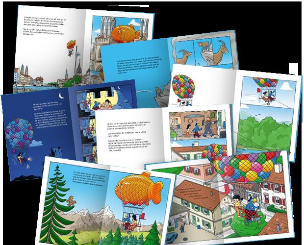Verschiedene Seiten aus dem Globi-Buch