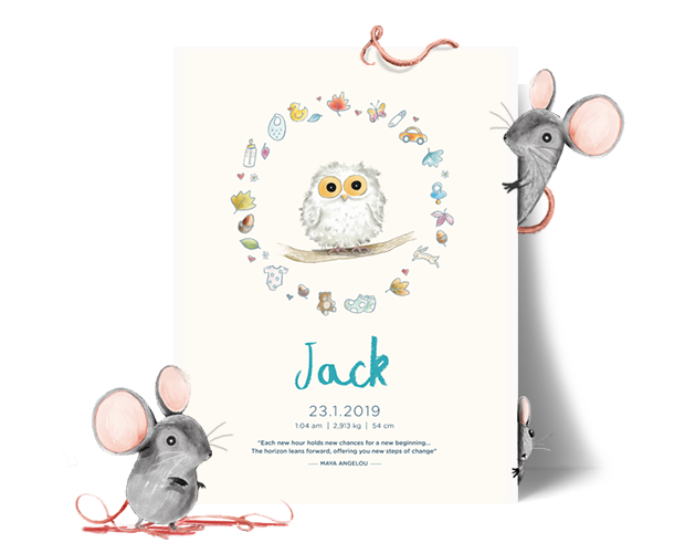 A personalised baby poster with the name Jack. Framed by two mice and a floral wreath