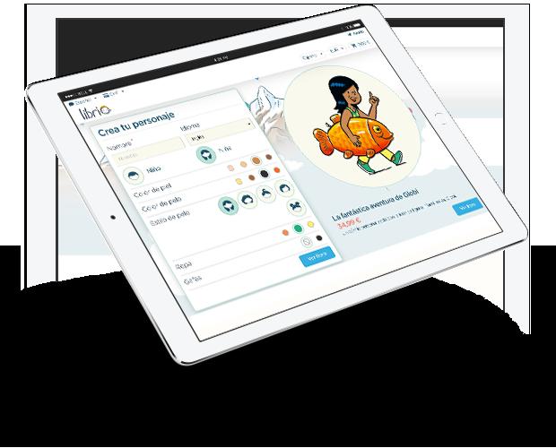 Imagen de la pantalla de un ipad en la que se personaliza el libro La fantástica aventura de Globi