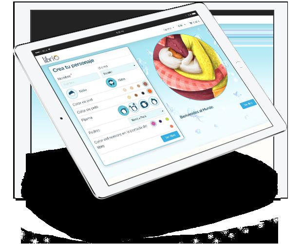 Imagen de la pantalla de un ipad en la que se personaliza el libro Bienvenidos al mundo