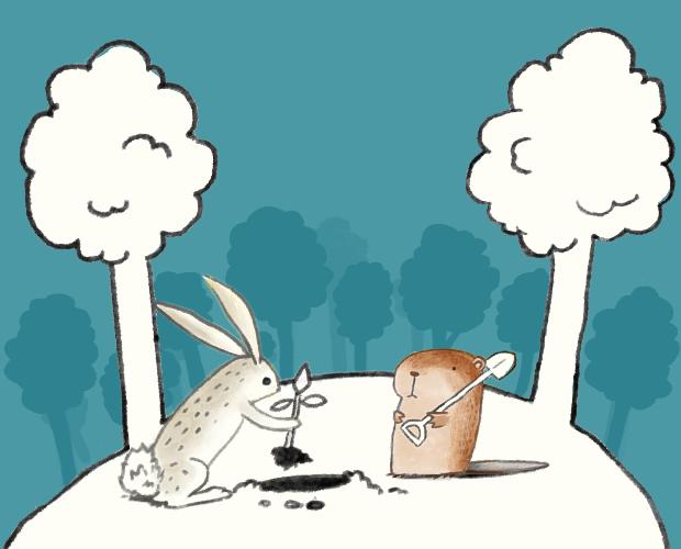 La señorita Conejito y Edu el Castor plantando un árbol