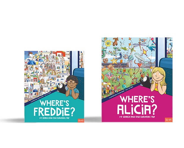 Two Search and Find Europe books sides by side, with different cover configurations of colour and location