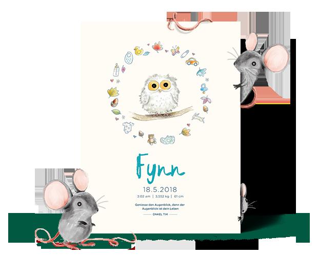 personalisiertes Geburtsposter mit dem Namen Finn und einer Eule und schöner Verzierung