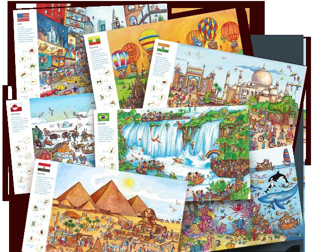 Una selección de imágenes del interior de nuestro libro Mi viaje alrededor del mundo