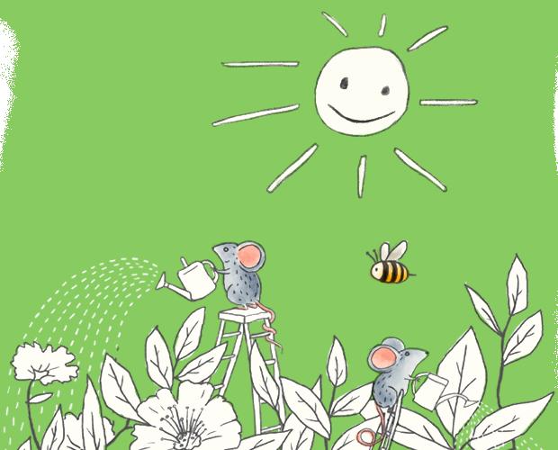 Ratones regando plantas al sol y una abeja