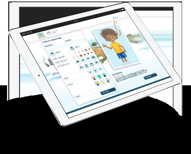 Imagen de la pantalla de un ipad en la que se personaliza el libro ¡Sé valiente!